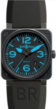 Réplique Bell & Ross Aviation 42MM Hommes Montre BR 03-92 Carbon bleue